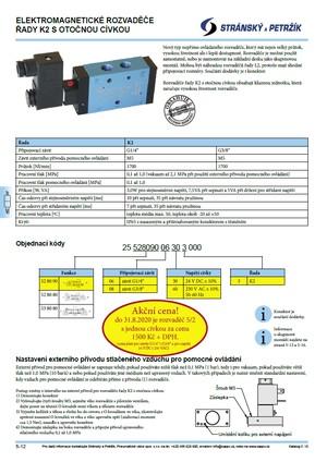 Katalogový list elektromagnetických rozvaděčů řady K2