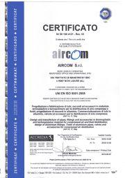 Certifikát ISO 9001:2008 společnosti Aircom S.r.l.