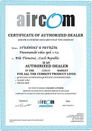 Certificate of authorized dealer of Aircom systems