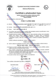 Type Examination Certificate FTZÚ 11 ATEX 0262 (type PCT)