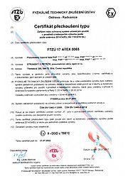 Type Examination Certificate FTZÚ 17 ATEX 0065 (type PAP)