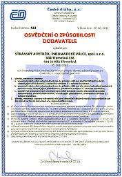Certificate of technical qualification of supplier for Czech Railways