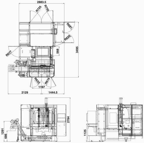 Rozměry stroje FMH-400