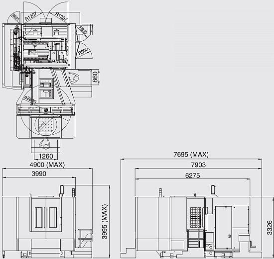 Rozměry stroje FMH-800
