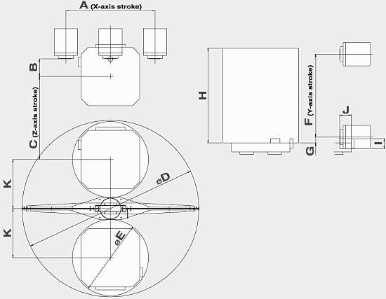 Rozměry pracovního prostoru stroje FMH-800