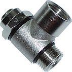 Fotografie škrticího ventilu jednosměrného, s vnitřním/vnějším závitem, škrcení na výstupu, s drážkou pro nastavení šroubovákem