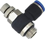 Picture of unidirectional flow control valve plastic, push-in, for cylinder use, with control knob setting