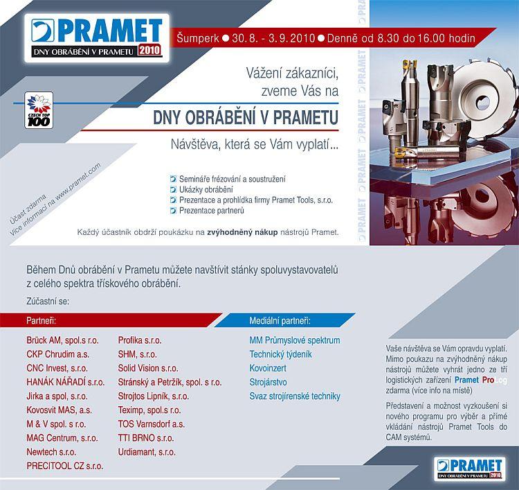 Pozvánka na dny Pramet 2010