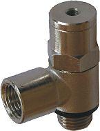 Fotografie jednosměrného zpětného řízeného ventilu, tvar L s vnitřním závitem